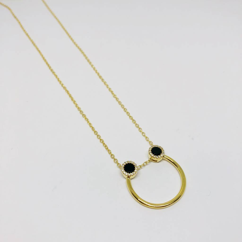 Nyla Star Black Half Hoop Necklace