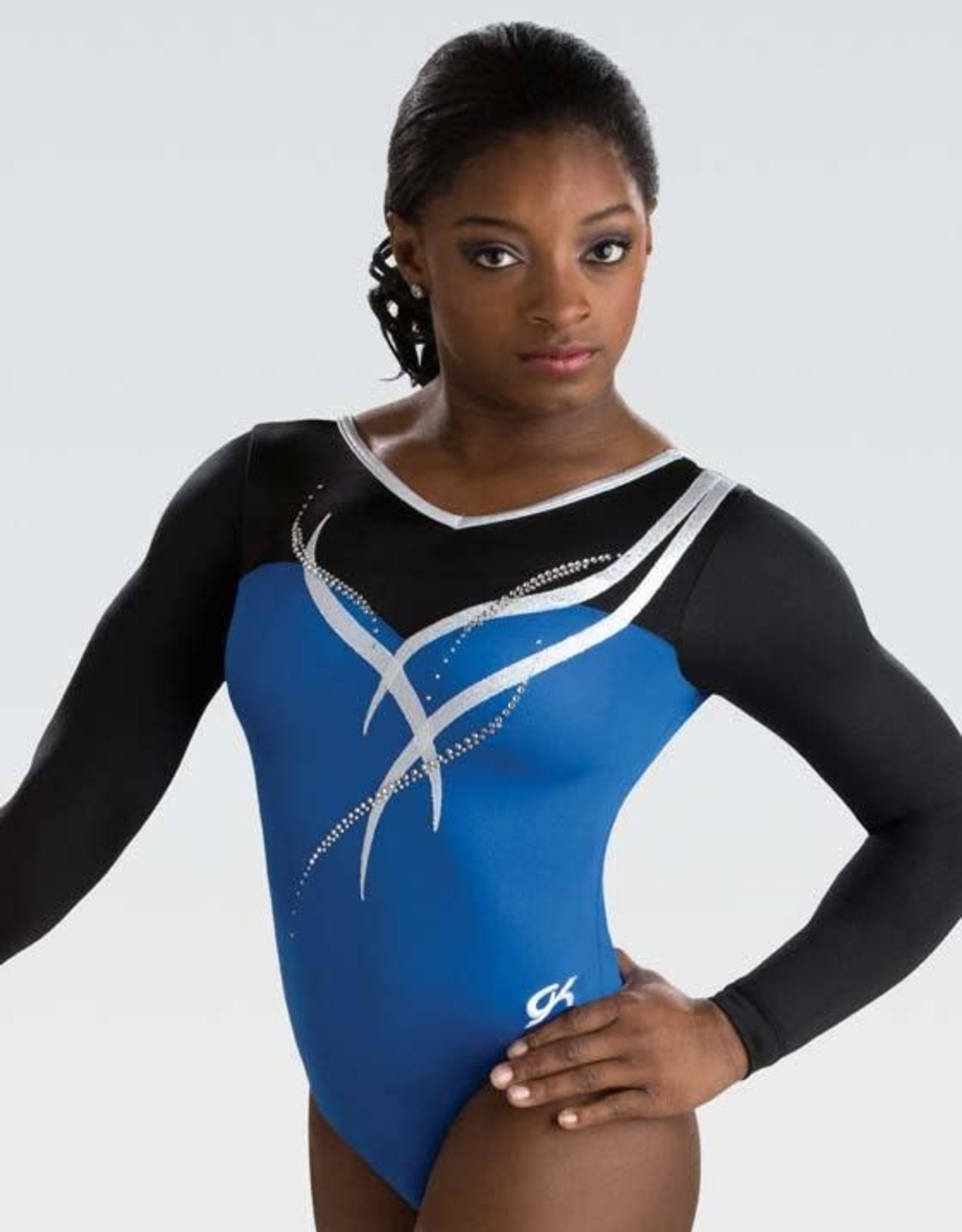 GK Elite 5841ST- Royal Ribbon Long Sleeve Leotard