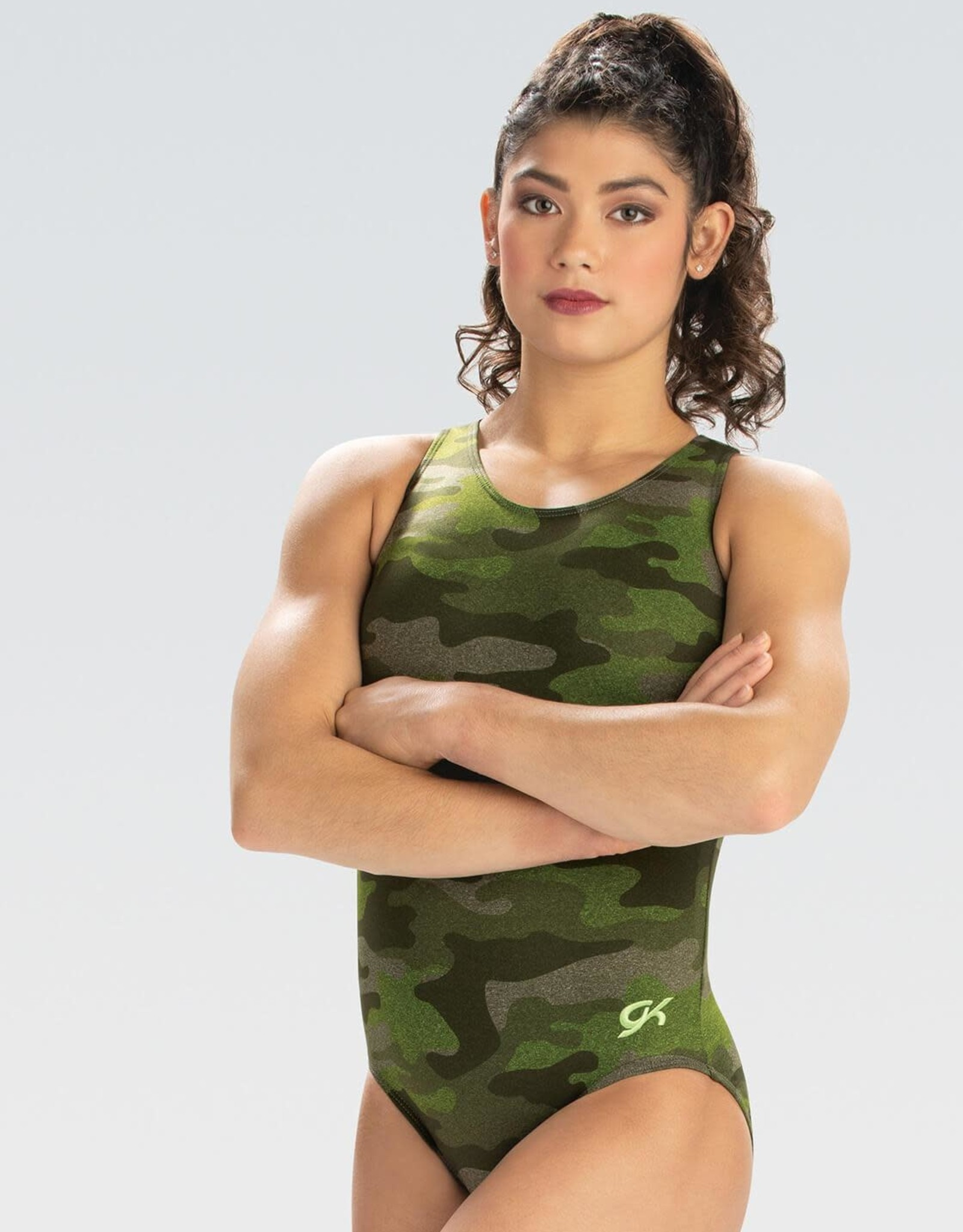 GK Elite E4135- Camo Cutout T-Back Leotard