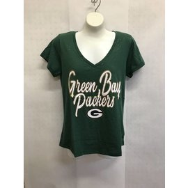 Green Bay Packers Women's Glitter Print V Neck Short Sleeve Tee