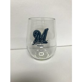 Milwaukee Brewers Plastic Stemless Wine Glass