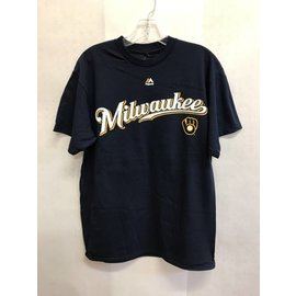 Milwaukee Brewers Men's Ball and Glove Logo Yelich Name and Number Short Sleeve Tee