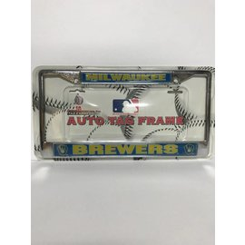 Milwaukee Brewers Ball And Glove Domed Chrome License Plate Frame