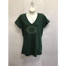 G III Green Bay Packers Women's V-Neck Short Sleeve Tee