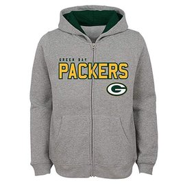 Green Bay Packers Youth Stated Full Zip Hoodie Grey