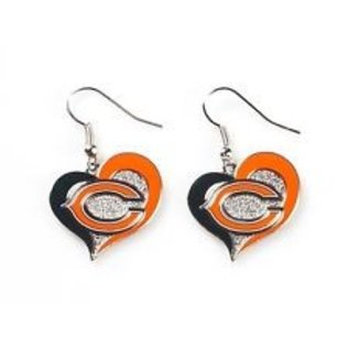 Chicago Bears Swirl Heart Dangle Earrings