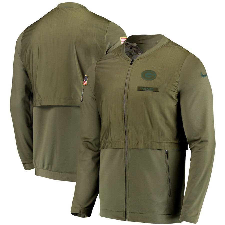 huge discount b3c8a 31216 Green Bay Packers Men's Salute To Service Full Zip Hoodie