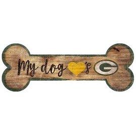 Green Bay Packers Wood Sign-Dog Bone