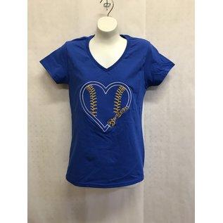 Milwaukee Brewers Women's Baseball Heart V Neck Short Sleeve Tee