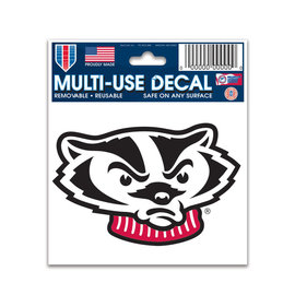 Wisconsin Badgers Bucky Head Decal 3x4