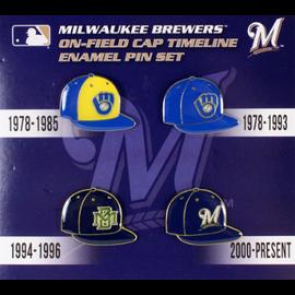 Milwaukee Brewers Cap Timeline 4 Pin Set