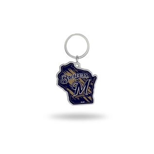 Rico Industries, Inc. Milwaukee Brewers State Shaped Keychain