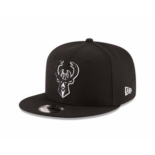 Milwaukee Bucks 9-50 Basic Black Flatbill Snapback Adjustable Hat