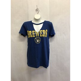 Milwaukee Brewers Women's Baby Jersey With Raw Edges Short Sleeve Tee
