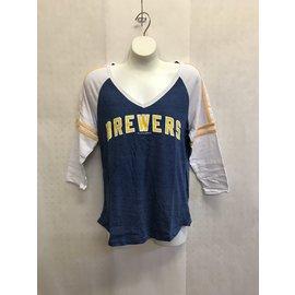 Milwaukee Brewers Women's Tri Blend 1/2 Sleeve Tee