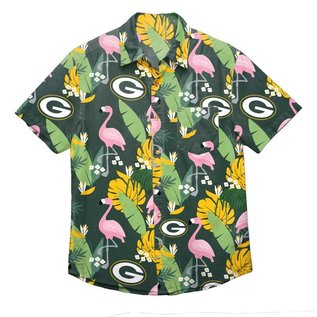 Green Bay Packers Men's Floral Flamingo Full Button Up Short Sleeve Shirt