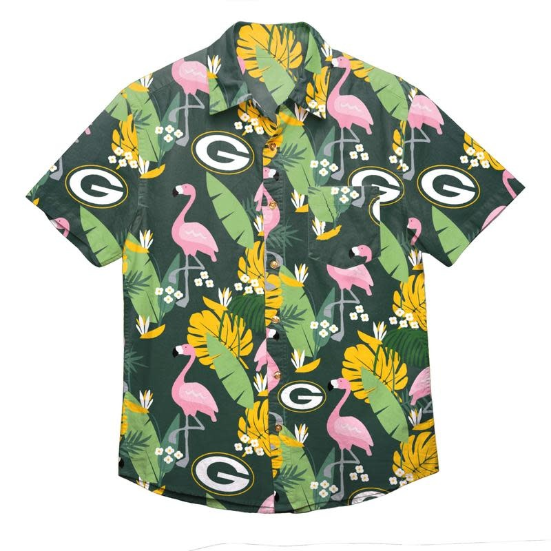 uk availability 65f45 dfd21 Green Bay Packers Men's Floral Flamingo Full Button Up Short Sleeve Shirt