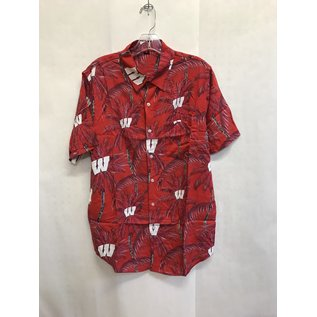 Wisconsin Badgers Men's Floral Tonal Harmonic Full Button Up Short Sleeve Shirt
