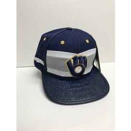 Milwaukee Brewers Glove Logo with Multi Split Front Flatbill Adjustable Hat