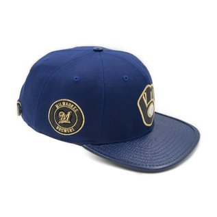 Milwaukee Brewers Ball and Glove Logo with Side Patch Flatbill Adjustable Hat