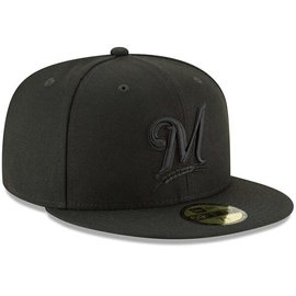 Milwaukee Brewers 9-50 Basic Black Snapback Adjustable Hat