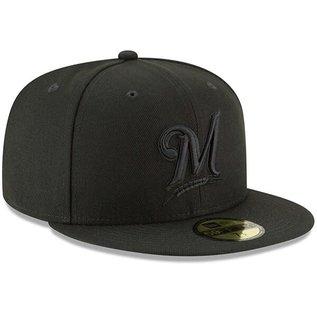 Milwaukee Brewers 9-50 Basic Black Snapback Adjustable Hat