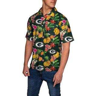 Green Bay Packers Men's Fruit Pattern 1/4 Button Up Short Sleeve Shirt