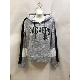 Green Bay Packers Women's Black Space Dye Full Zip Hoodie