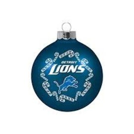 Detroit Lions Round Ball Ornament With Candy Canes
