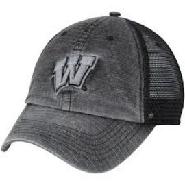 Wisconsin Badgers Men's Ploom Charcoal Mesh Back Adjustable Hat