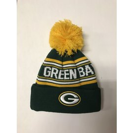 Green Bay Packers Youth Cuffed Knit With Pom