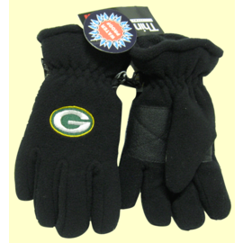 Green Bay Packer Youth Black Fleece Gloves