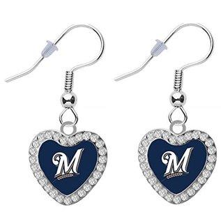 Aminco Milwaukee Brewers M Logo Crystal Heart Dangle Earrings