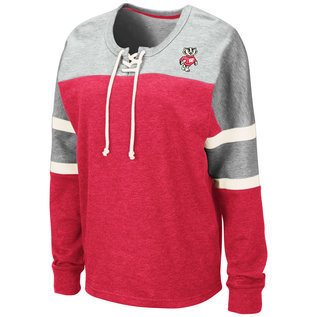 Colosseum Wisconsin Badgers Women's Mando Lace Up Pullover Long Sleeve Tee