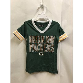Green Bay Packers Youth Girls V Neck With Arm Stripes Short Sleeve Tee