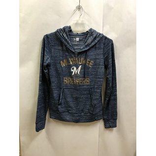 Milwaukee Brewers Women's Space Dye Sweater Knit Full Zip Hoodie