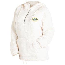 5th &  Ocean Green Bay Packers Women's White Sherpa 1/4 Zip Hoodie