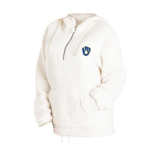 5th &  Ocean Milwaukee Brewers Women's White Sherpa With Ball and Glove Logo 1/4 Zip