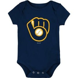 Milwaukee Brewers Youth Ball and Glove Logo Onesie