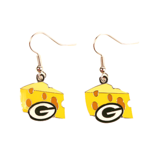 Green Bay Packers Cheese Wedge with G Dangle Earrings