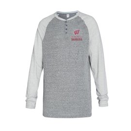 College Concepts LLC Wisconsin Badgers Men's Homestretch Henley Long Sleeve Tee