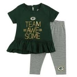 Outerstuff Green Bay Packers Youth Girls Awesome Dress and Pant Set