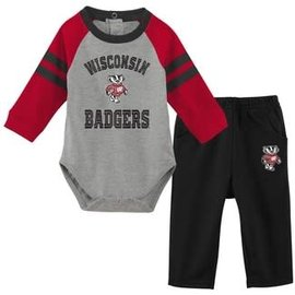 Wisconsin Badgers Youth Touchdown Long Sleeve Onesie and Pant Set