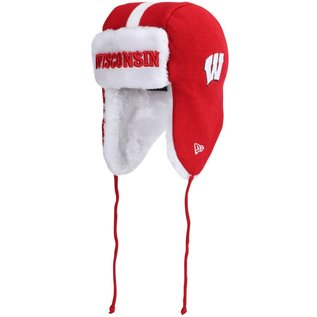 New Era Wisconsin Badgers Knit Trapper Helmet Head Hat