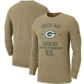 Green Bay Packers Men's 2019 Parachute Beige Salute to Service Long Sleeve Tee