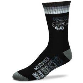 For Bare Feet Wisconsin Badgers Men's Platinum Duece Socks Large