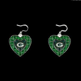 Green Bay Packers Green Rhinestone Heart Dangle Earrings