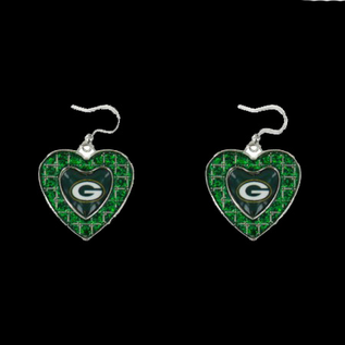 Green Bay Packers Green Rhinestone Heart Dangle Earrings
