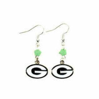 Green Bay Packers G Dangle Earrings with Green Flower