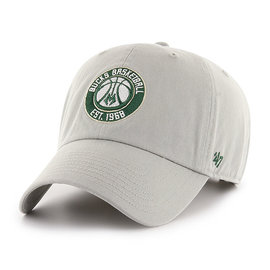 '47 Brand Milwaukee Bucks Gray Clean Up Adjustable Hat